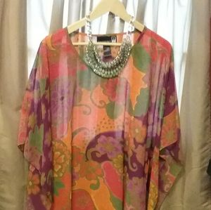 Beautiful flowy floral kaftan  with necklace
